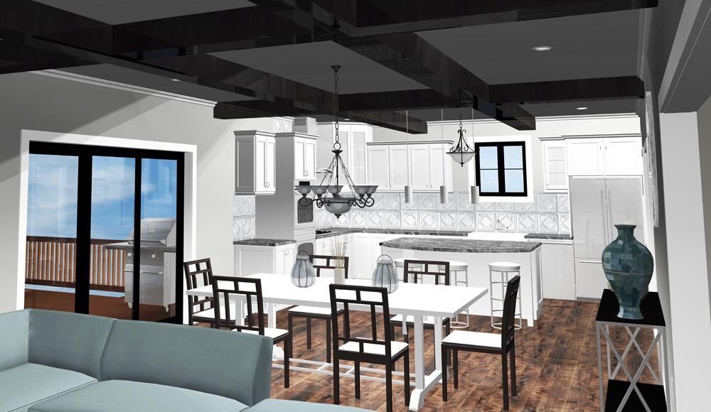 Virtual reality image of a modern kitchen designed by Seiffert Lumber - Quad Cities Kitchen & Bath