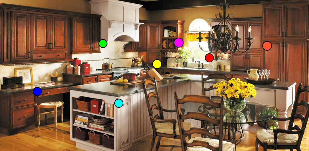 Image of Rustic Kitchen Storage Options with Detailed Pop-up Information