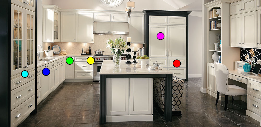 Image of Modern Kitchen Storage Options with Detailed Pop-up Information