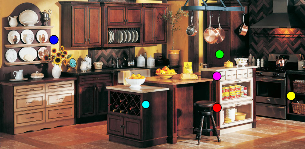 Image of Country Kitchen Storage Options with Detailed Pop-up Information